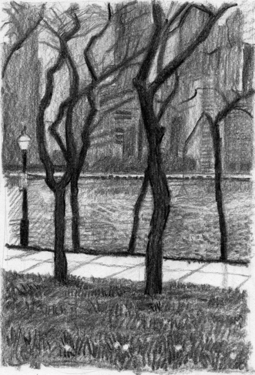 Chicago Waterfront, charcoal sketch